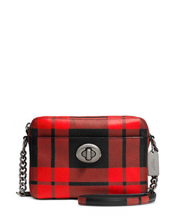 Coach Turnlock Camera Bag in Plaid Print Leather
