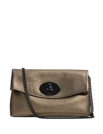 Coach Turnlock Flap Front Clutch In Metallic Leather