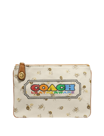 Coach Turnlock Pouch 26 With Rainbow Signature Badge