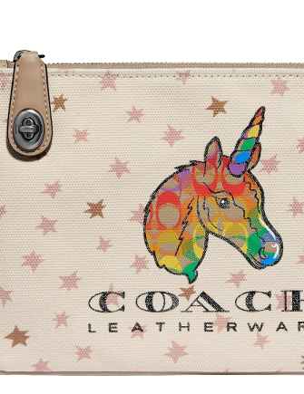 Coach Turnlock Pouch 26 With Rainbow Signature Unicorn