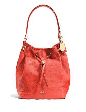 Coach Turnlock Tie Bucket Bag in Soft Grain Matte Leather