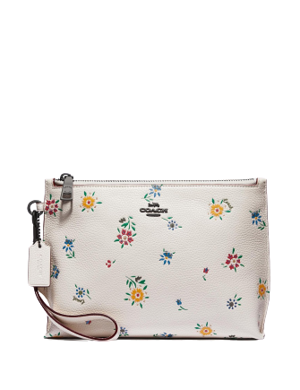 Coach Wildflower Print Charlie 60 Leather Wristlet