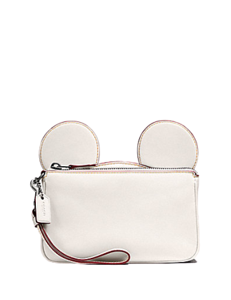 Coach Wristlet in Glove Calf Leather With Mickey Ears