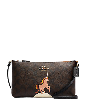 Coach Zip Top Crossbody in Signature Canvas with Unicorn