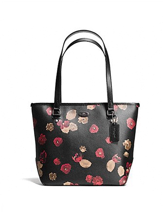 Coach Zip Top Tote in Black Floral Coated Canvas