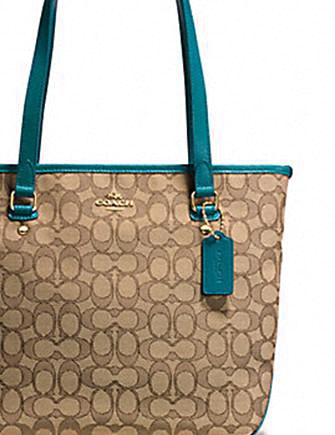 Coach Zip Top Tote in Outline Signature Jacquard