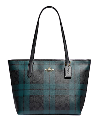Coach Zip Top Tote in Signature Canvas with Field Plaid Print