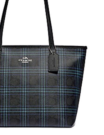 Coach Zip Top Tote in Signature Canvas With Shirting Plaid Print