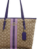 Coach Zip Top Tote in Signature Jacquard With Stripe