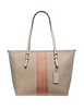 Coach Zip Top Tote in Signature Jacquard With Varsity Stripe
