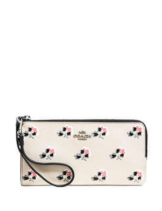 Coach Zip Wallet in Floral Printed Grossgrain Leather