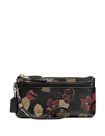 Coach Zippy Wallet with Pop Up Zip Pouch in Floral Print Leat