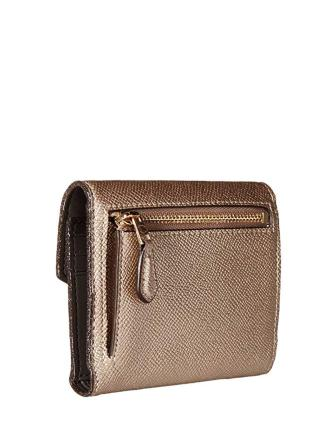 Coach Snap Small Wallet Metallic Crossgrain Leather