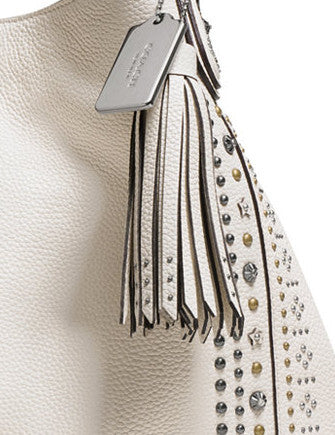 Coach Leather Bandana Rivets Studs Edie Shoulder Bag