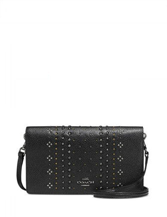 Coach Bandana Rivets Foldover Crossbody in Polished Pebble Leather