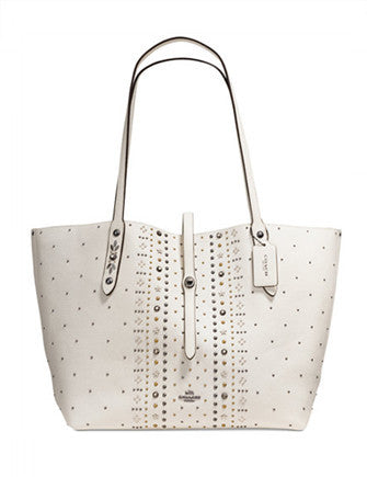 Coach Bandana Rivets Market Tote in Pebble Leather