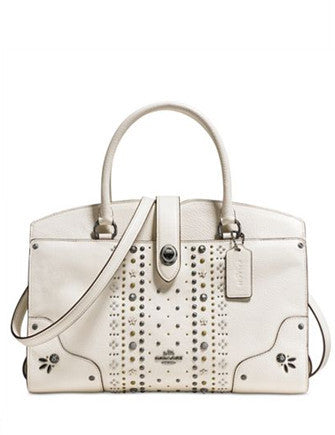 356876e5045b Coach Bandana Rivets Mercer Satchel 30 in Polished Pebble Leather ...