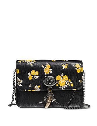 Coach Bowery Crossbody in Polished Pebble Leather with Rebel Charm