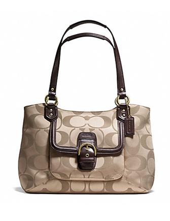 Coach Campbell Signature Sateen Belle Carryall