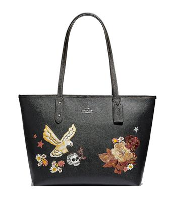 Coach City Zip Tote With Tattoo Embroidery