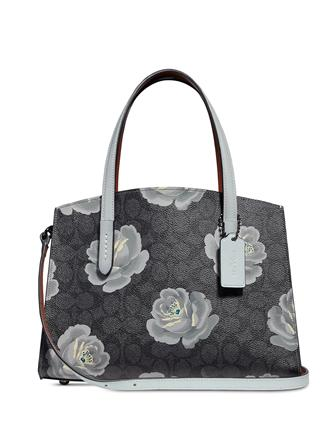 Coach Coated Canvas Signature Rose Print Charlie 28 Carryall