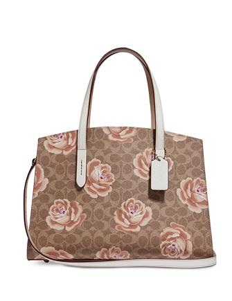 Coach Coated Canvas Signature Rose-Print Charlie Carryall