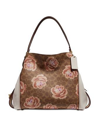 Coach Coated Canvas Signature Rose Print Edie 31 Shoulder Bag