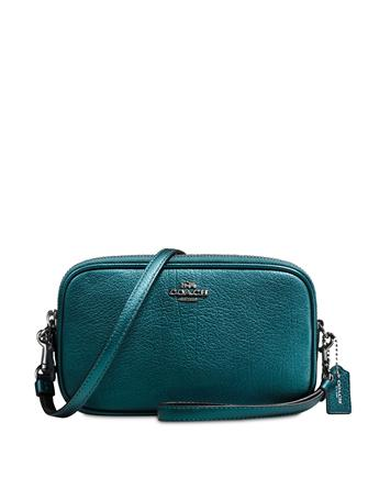 Coach Crossbody Clutch In Metallic Leather