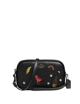 Coach Crossbody Clutch in Grain Leather with Souvenir Embroidery