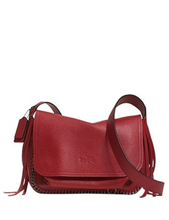 Coach Dakotah Fringe Flap Crossbody In Pebbled Leather