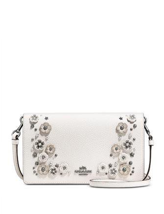 e18c849863e6 Coach Foldover Crossbody Clutch in Polished Pebble Leather with Willow  Floral