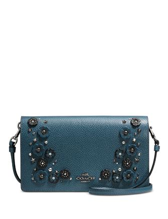 Coach Foldover Crossbody Clutch in Polished Pebble Leather with Willow Floral