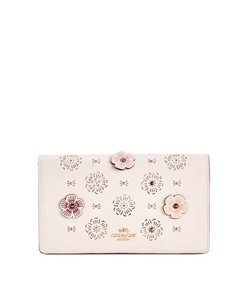 Coach Foldover Small Crossbody Clutch with Cut Out Tea Rose Applique