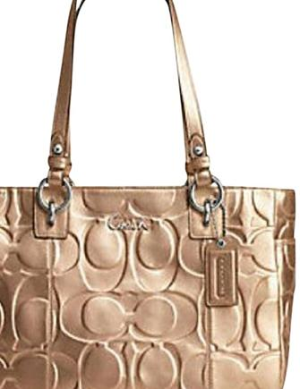 Coach Gallery Embossed Signature Metallic Leather Tote