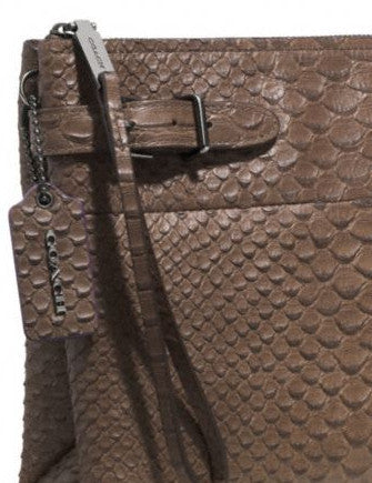 Coach Large Borough Clutch in Python Embossed Leather