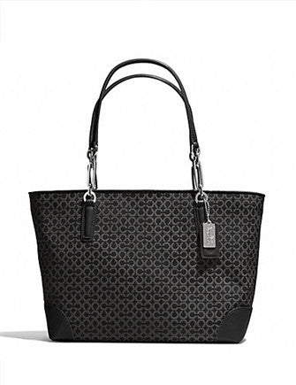 Coach Madison Op Art Needlepoint Signature East West Tote