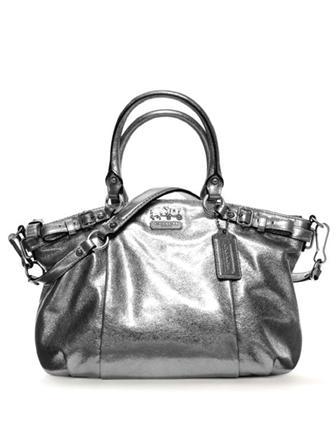 Coach Madison Metallic Leather Sophia Belted Satchel
