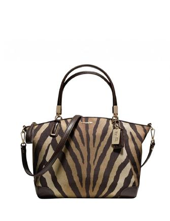 Coach Madison Small Kelsey Satchel In Zebra Print Fabric