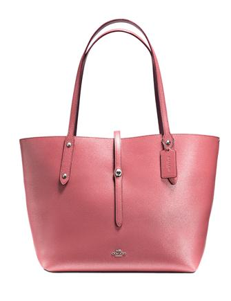Coach Market Tote In Glitter Rose Polished Pebble Leather