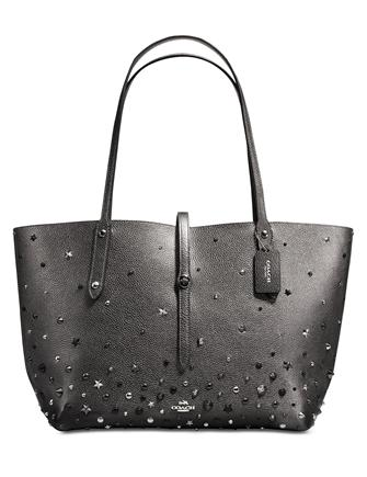 Coach Market Tote In Metallic Leather With Star Rivets