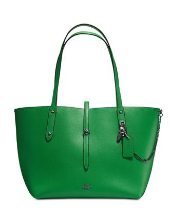 Coach Market Tote in Polished Pebble Leather with Rebel Charm