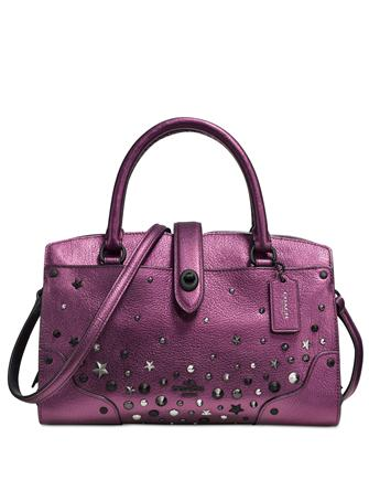 Coach Mercer Satchel 24 in Metallic Leather With Star Rivets