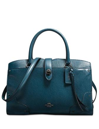 Coach Mercer Satchel 30 In Mixed Leather With Whiplash Detail