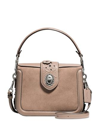 Coach Page Crossbody In Glovetanned Leather With Painted Tea Rose Tooling