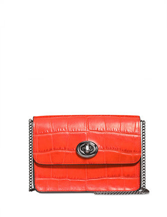 Coach Small Bowery Crossbody in Croc Embossed Leather