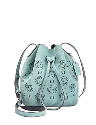 Coach Suede Mini Bucket Bag 16 with Cut Out Tea Rose