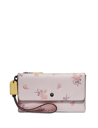 Coach Triple Zip Floral Bow Wristlet