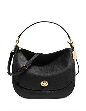 Coach Turnlock Leather Hobo Bag