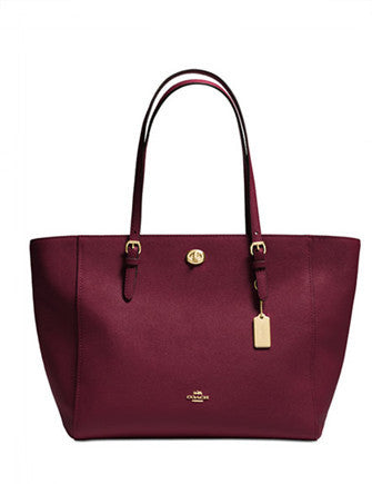 Coach Turnlock Shoulder Tote In Crossgrain Leather