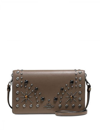 Coach Western Rivets Foldover Crossbody Clutch in Glovetanned Leather